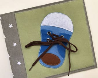 Quiet book PAGE, busy book, sensory toy for kids with shoes