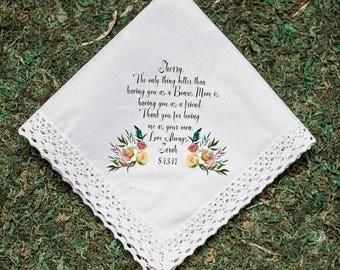 Wedding Handkerchief, BONUS Mom, Step Mom, Thank you for loving me as your own, Printed Hankie, Parents Thank you Gift, Mom Hankie- 98
