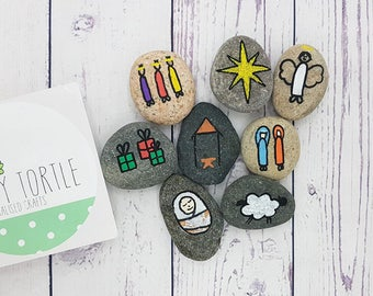Nativity story stones, story telling set, christmas gift, unique gift, children's gift, handpainted gift, 3 wise men, baby jesus