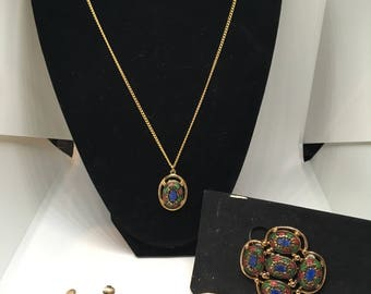 "Vintage Sarah Coventry 1968 ""Light of the East"" Necklace, Brooch, and Earrings Set."