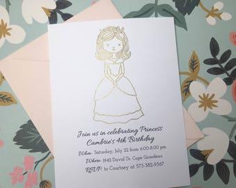 Princess Birthday Invitations // Gold Embossed Kids Party Invitations // Handmade Kids Birthday Party Invitations //