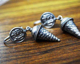 Gorgeous Cone Earring 925 silver oxidised