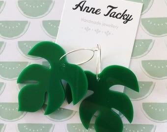 GIANT amazon LEAF laser cut acrylic green  earrings studs tacky festival wear kitsch retro style