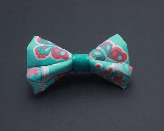 Mini hairbow with teal and coral butterflies