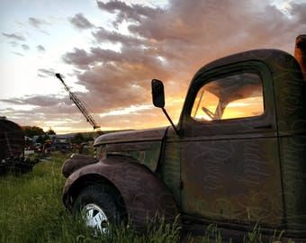 GMC Flatbed Junkyard Photography Printable Download-Old Farm Truck-Retro Wrecker-Vintage Truck-Junkyard Sunset Scene-Americana Photography