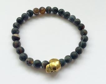 Black Frost Bracelet with Skull Spacer Bead