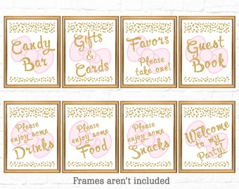 Set of 8 Printable Hello Kitty Table Signs | Hello Kitty Birthday | Pink and Gold Table Signs |