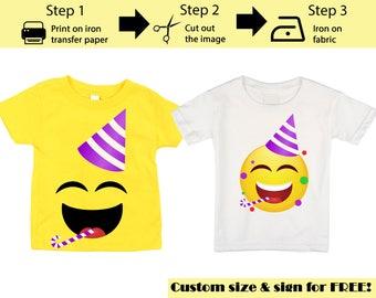 Custom Printable Emoji T-shirt / Party  Emoji Iron on transfer / Emoji Birthday &Party shirt / Instant Download