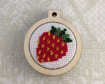"Tiny Strawberry 1"" embroidered pendant"