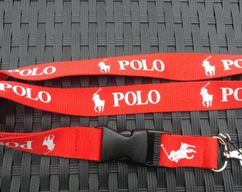 POLO Red Lanyard with White Print High Quality