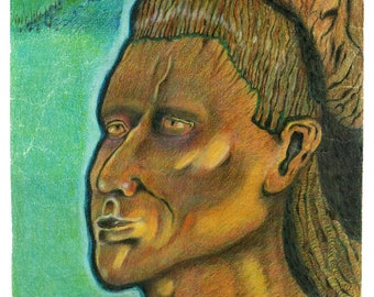 """Wooden Indian - 11""""x14"""""""