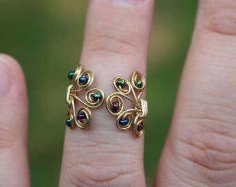 Gold Beaded Filigree Midi Ring