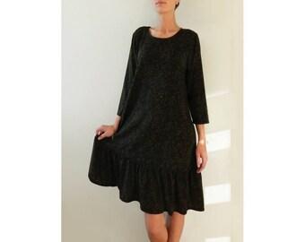 SALE 50% OFF Wool jersey dress, ruffle dress, party dress, 3/4 sleeve dress, women dress, midi dress