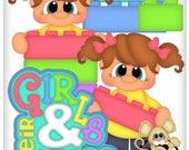 Lego Girl vector graphics, digital clipart, digital images, scrapbooking, instant download