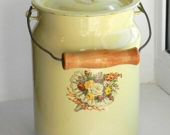 beautiful Enamel Milk Pot..Vintage soviet yellow milk can..shabby chic USSR