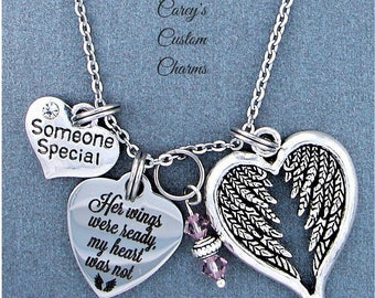 Someone Special ~ Her Wings Were Ready, My Heart Was Not Memorial Necklace, Swarovski Birthstone, Sympathy Jewelry Memorial Gift, Friendship