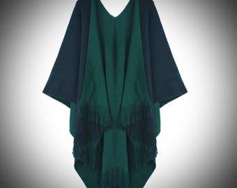 Guinevere Shawl/Double Sided Knit Cape/Renaissance Medieval Viking Attire Clothing/Tassel Shawl/Grey Cape/Grey Shawl/Poncho/The Kingdom