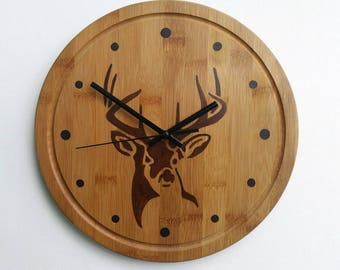 Clock Hand Painted Deer