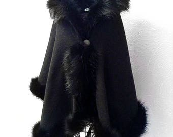Elegant black half-woolen cloak with high quality faux fur - made by Irena Fashion