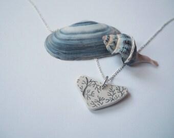 Intricately patterned sea pottery pendant / necklace