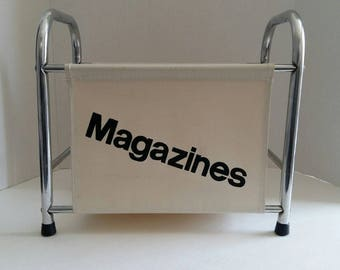 Vintage 1970s Magazine Rack Graphic Text Aluminum And Canvas