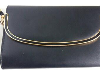Vintage Black Purse Handbag Gold Tone Metal Detailing Leather