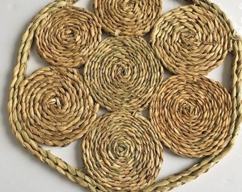 Straw Placemats, Woven Doilies, Vintage Woven Placemats, Set Of 2, Natural Fiber Straw Hexagon, Rustic, Bohemian