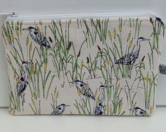 Small makeup bag; zippered pouch; herons, bird lovers, British birds, heron.