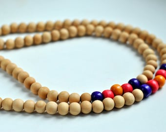 4 colours: 108 bead wood mala for meditation (10mm)
