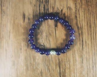 Amethyst Beaded Stretch Bracelet- Fashion Jewelry- Boho Stacking Bracelet