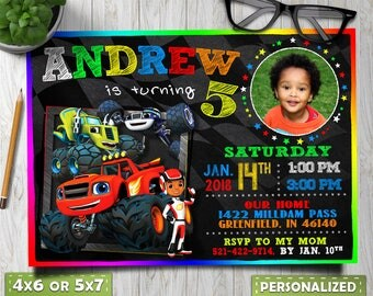 blaze and the monster machines invitations, blaze and the monster machines party, blaze and the monster machines party favors, monster truck