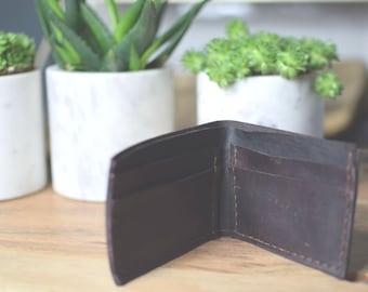 Custom Wallet -Leather Wallet - Mens Wallet - Bifold Wallet - Monogrammed Wallet - Simple Wallet -Brown Wallet - Minimalist Wallet