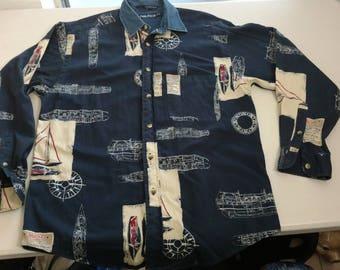 Vintage Nautica sailing button up longsleeve 90s shirt
