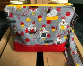Knitting Chickens Knitting Bag, Project Bag, Zippered Crochet Bag, Zipper Project Bag, Sock Knitting Bag, Sock Project Bag