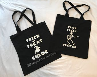 Halloween bags with Glow-in-the-Dark Wording, Trick or Treat, Personalized Halloween Bags, Personalized Trick or Treat Bags,Glow-in-the-dark