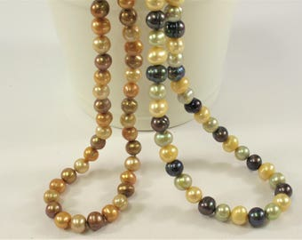 72 inches 8-8.5mm AA Potato Genuine Freshwater Pearl Necklace in Multi Colors, Bridal Pearl Necklaces, Long Pearl Necklaces (313-NKMIX72)