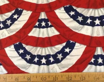 Red, white and blue, 'Old Glory' patriotic print cotton fabric by the yard