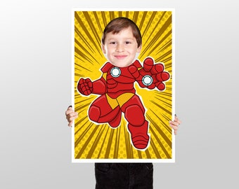 Super hero birthday party Photo Booth - Prop Child  - art - decor room - Robot