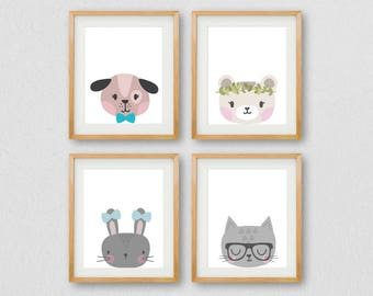 Nursery Wall Art, Animal PRINTABLE, Baby Animal Wall Art, Gallery Wall Prints, Nursery Prints, Childrens Room  Art, Bunny Print, Kids Room