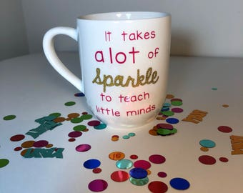 Teacher mug|teach|little minds|teacher gift|personalized mug