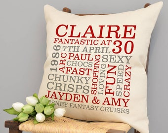 Personalised 30th Birthday Word Art Cushion
