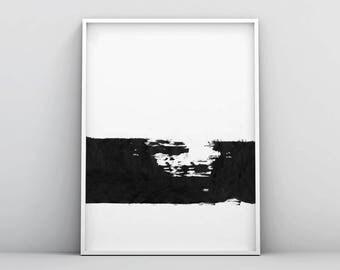 Brush Strokes Art, Minimal Poster Print, Paint Brush Strokes, Large Modern Print, Black White, Digital Prints, Gift Ideas, Housewarming Gift