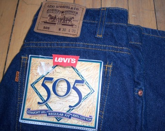 Vintage 1991 Levi's Levi Strauss Blue Jeans 505 Straight Leg Regular Fit W 30 L 31 Rare NEW with Tags
