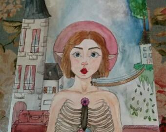 """Original and unique artwork - """"Elea and the world"""" - watercolor"""
