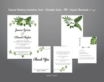 Tropical Wedding Invitation Suite •  Printable Invite •  PDF •  Instant Download