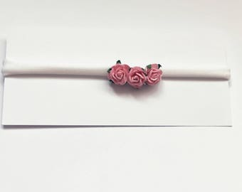 White colour nylon headband with 3 mulberry paper roses