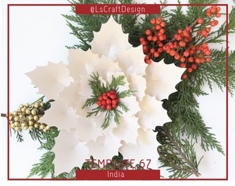 PDF Paper Flowers, ChristmasDecor, Giant Paper Flower, Paper Poinsettia Flower, Christmas flower, Base/Instruction Including