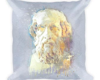 Homer Square Pillow | Holiday Art | Greek Poet + Historian | Gift Idea