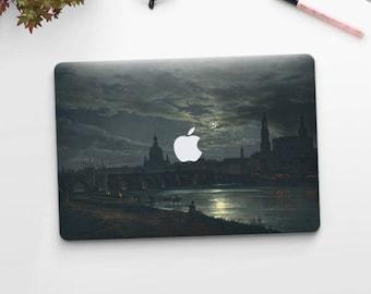 "Johan Dahl, ""View of Dresden by Moonlight"". Macbook Pro 15 sticker, Macbook Air 13 cover, Macbook Retina decal. Macbook cover."