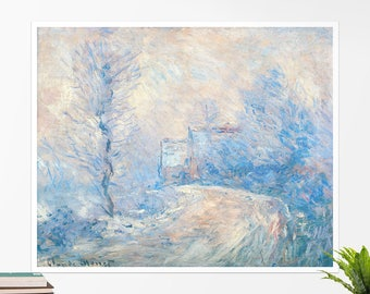 "Claude Monet, ""The Road to Giverny in Winter"". Art poster, art print, rolled canvas, art canvas, wall art, wall decor"